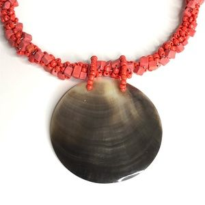 Jewelry - Necklace Coral Beaded Statement Shell Pendant